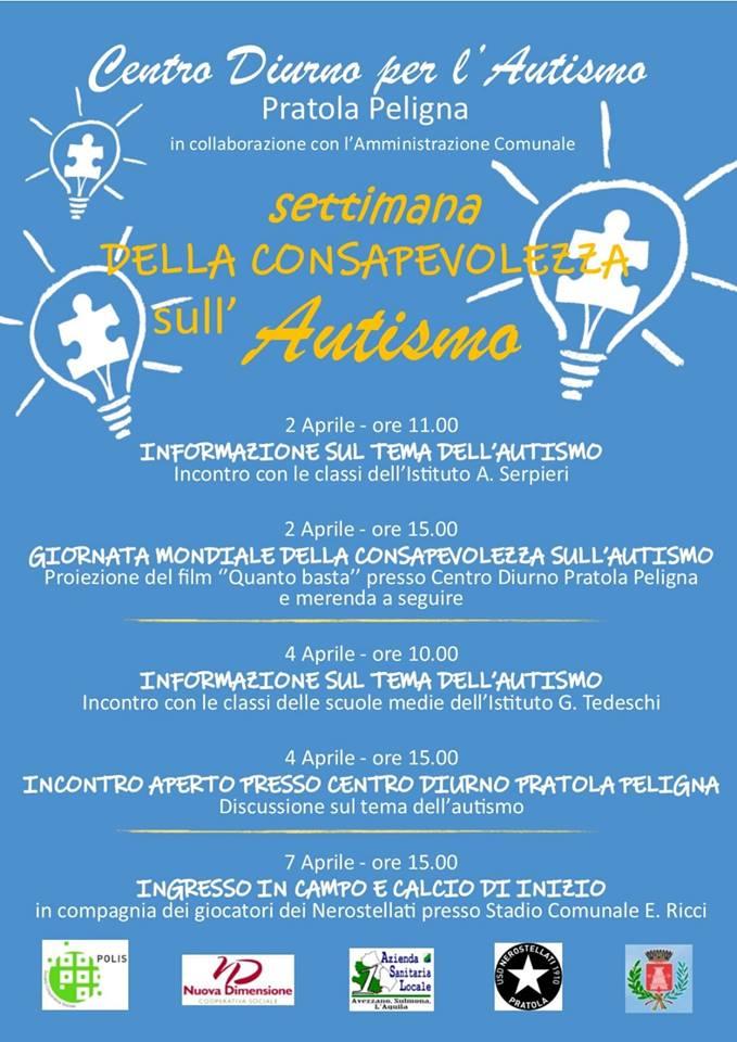 Pratola Peligna – Eventi ed iniziative per la settimana della consapevolezza sull'Autismo
