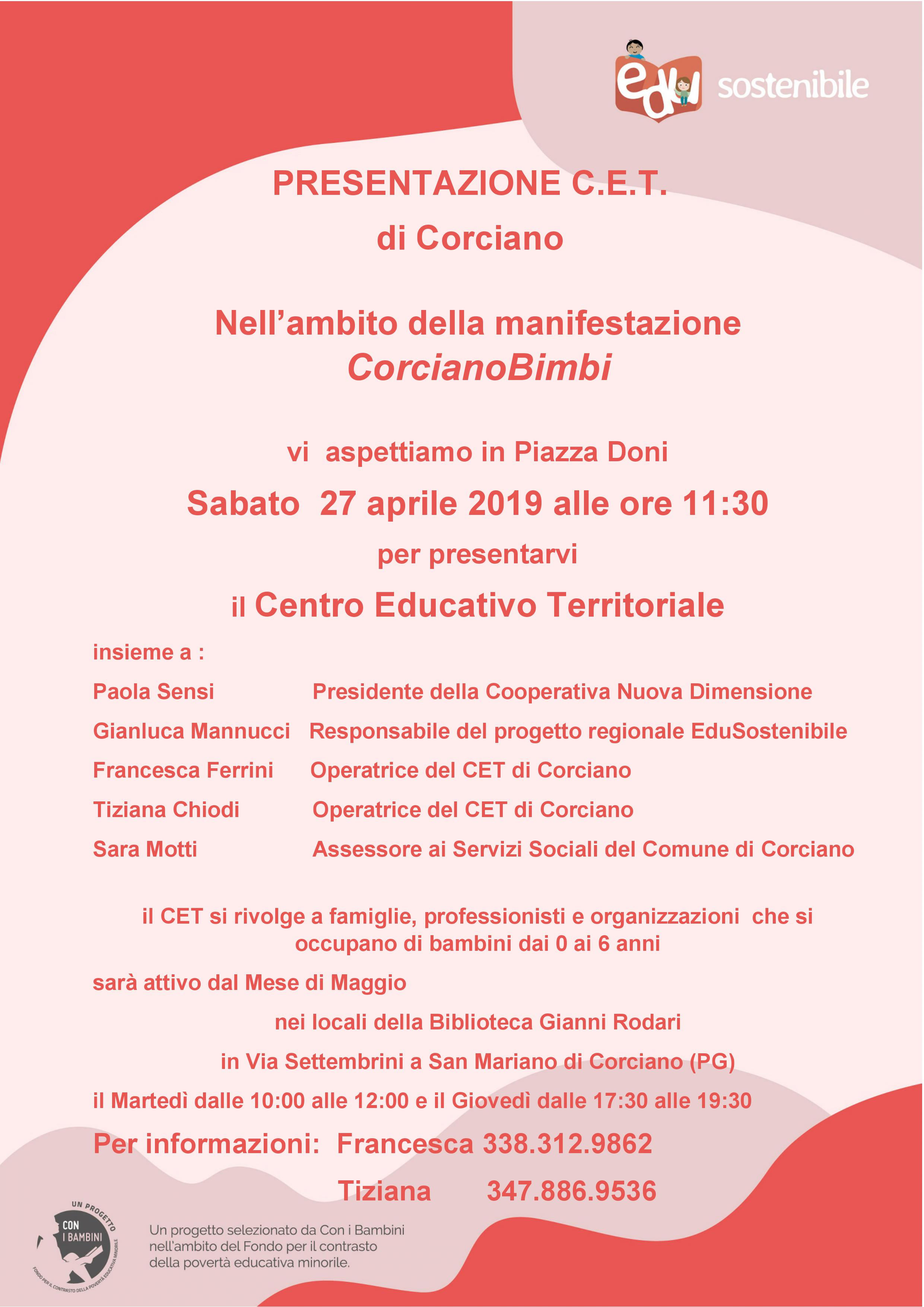 27 aprile – Presentazione CET Centro Educativo Territoriale a Corciano