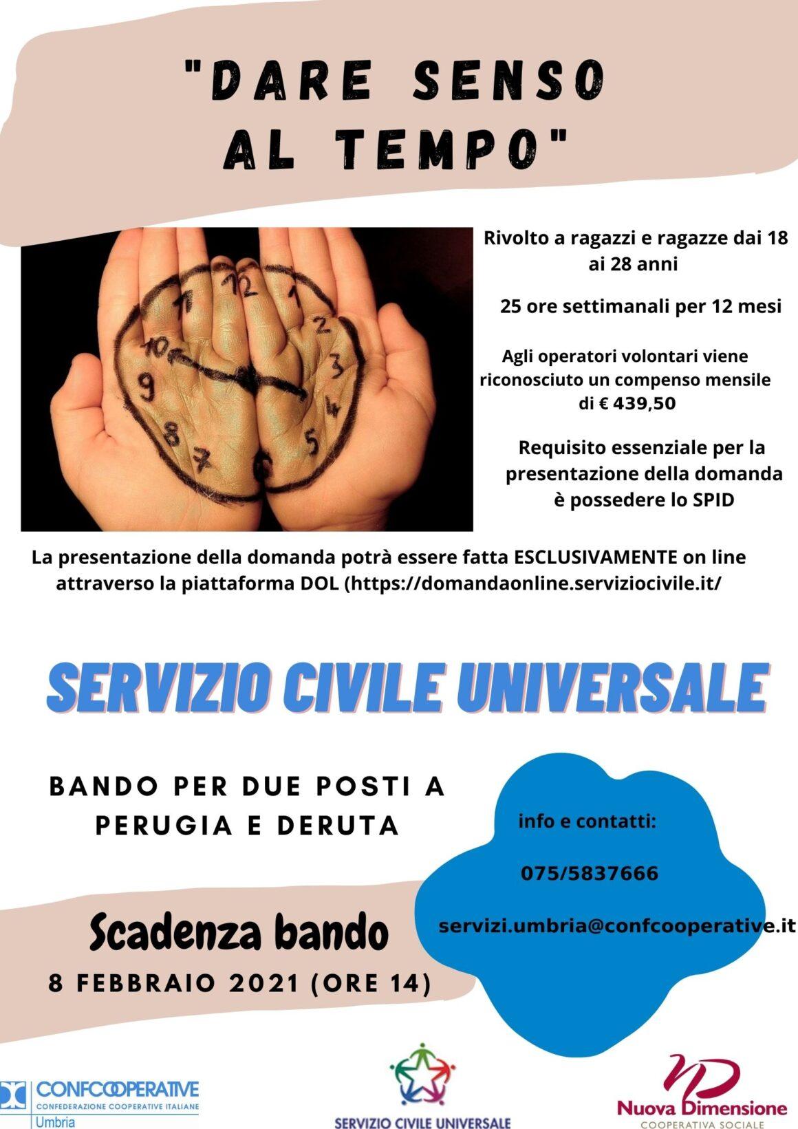 PUBBLICATO IL BANDO SERVIZIO CIVILE UNIVERSALE 2021